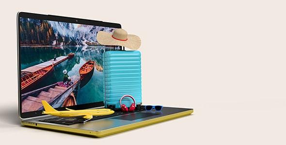 فایل لایه باز موکاپ لپ تاپ با لوازم سفر