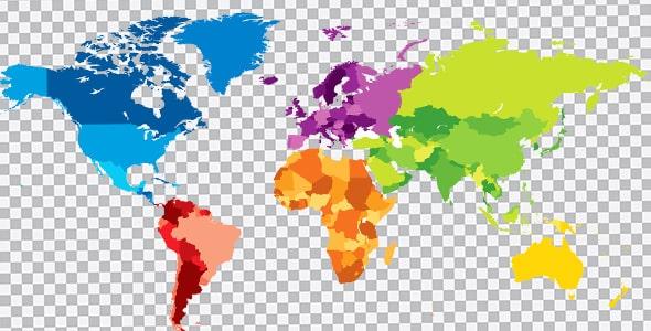 تصویر PNG نقشه رنگی کشورهای جهان