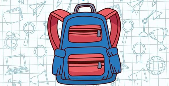 وکتور اول مهر و کوله با کیف مدرسه
