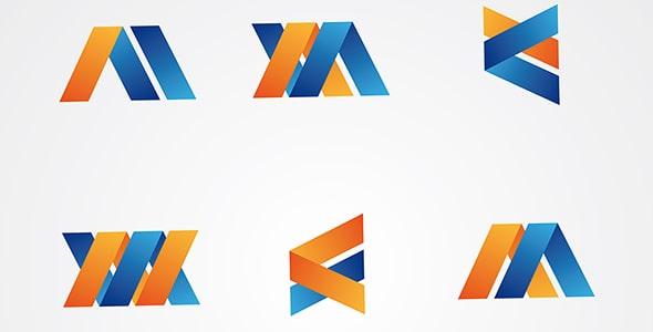 وکتور مجموعه قالب لوگو با طراحی انتزاعی
