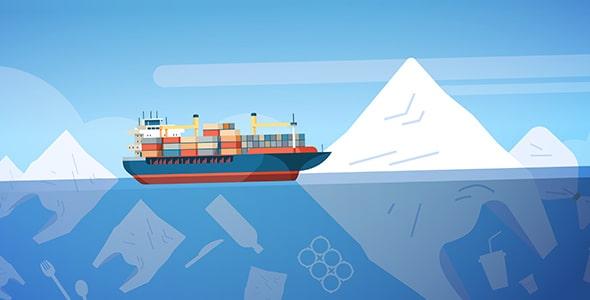 وکتور کشتی باری با مفهوم آلودگی محیط زیست