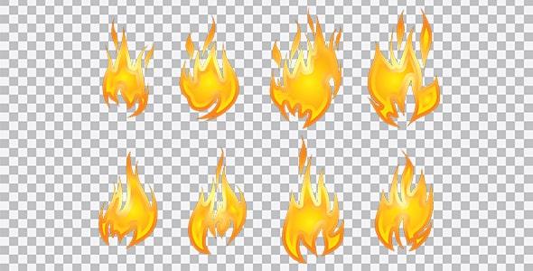 تصویر PNG مجموعه آیکون شعله آتش