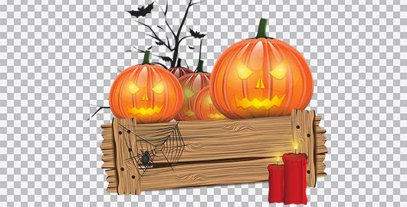تصویر PNG کدوی هالووین توی جعبه