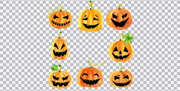 تصویر PNG مجموعه استیکر آبرنگی کدو هالووین