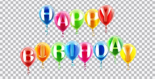 تصویر PNG طرح بادکنکی Happy Birthday