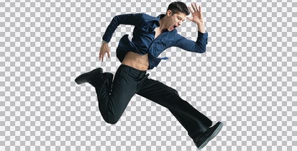 تصویر PNG مرد جوان در حال پریدن