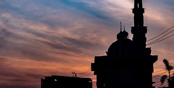 تصویر پس زمینه مسجد در اول صبح