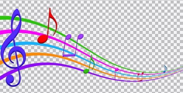 تصویر PNG مجموعه نت موسیقی رنگی
