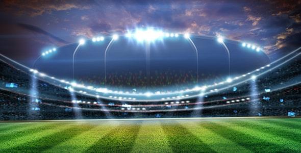 تصویر سه بعدی استادیوم فوتبال با نورافکن