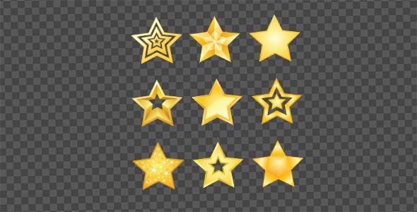 تصویر PNG مجموعه ستاره طلایی