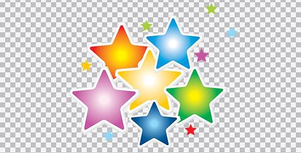 تصویر PNG مجموعه ستاره رنگارنگ