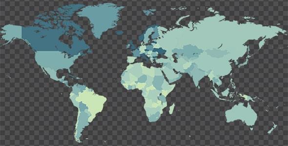 تصویر PNG ترنسپرنت نقشه کشورهای جهان