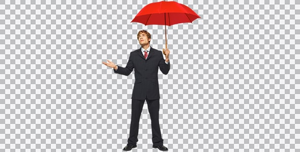 تصویر PNG مرد جوان تاجر با چتر