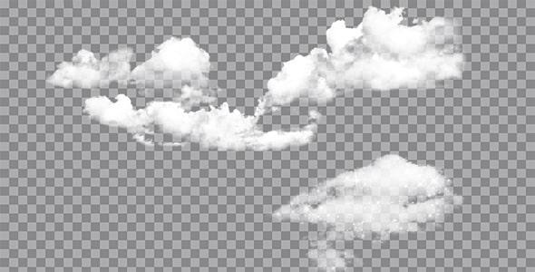 تصویر PNG ترنسپرنت مجموعه ابر سفید