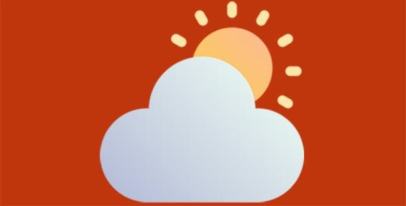 آیکون خورشید و ابر در هوای نیمه ابری