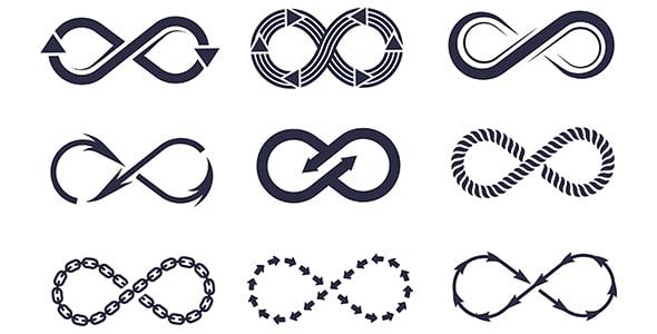 وکتور مجموعه لوگو و آیکون نماد بی نهایت