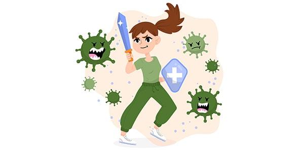 وکتور کاراکتر دختر و مبارزه با ویروس