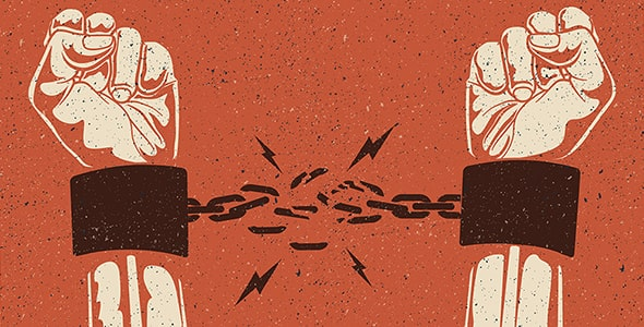وکتور دست انسان و پاره کردن زنجیر