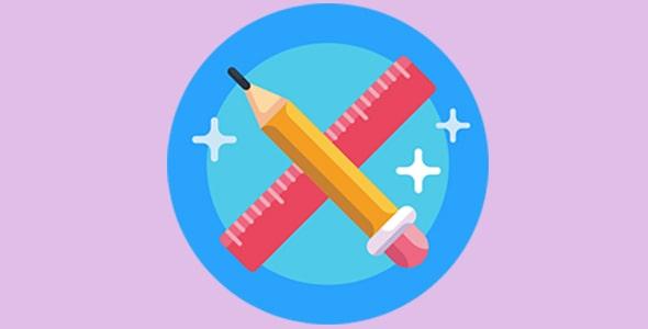 آیکون مداد و خط کش با مفهوم طراحی