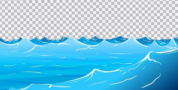 تصویر PNG تصویر سازی امواج آرام دریا