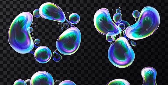 وکتور مجموعه واقع گرایانه حباب آب سه بعدی