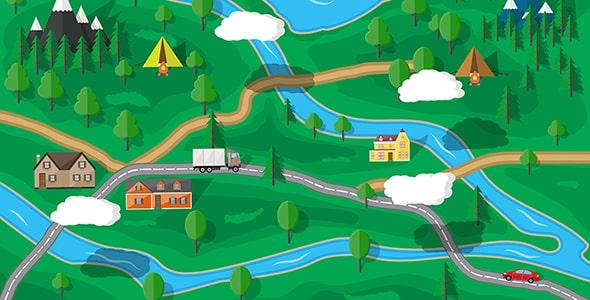 وکتور نقشه جاده جنگلی و طبیعت