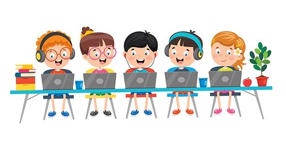 وکتور با مفهوم آموزش مجازی به کودکان