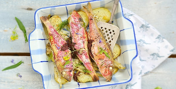 تصویر ماهی کبابی با سبزیجات