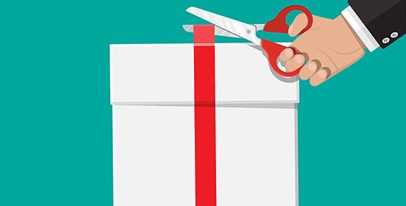 وکتور جعبه کادو با روبان قرمز و دست انسان