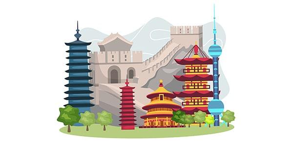 وکتور تصویر سازی جاذبه های گردشگری چین