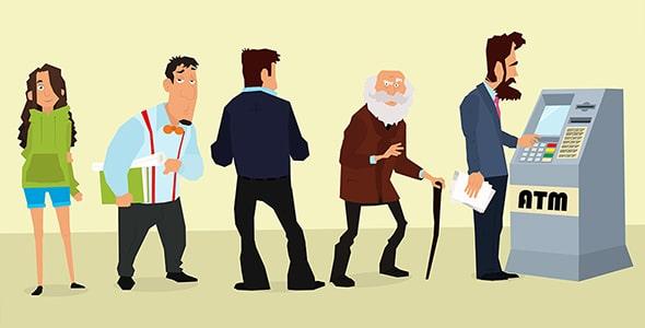 وکتور کاراکتر کارتونی انسان در صف عابر بانک