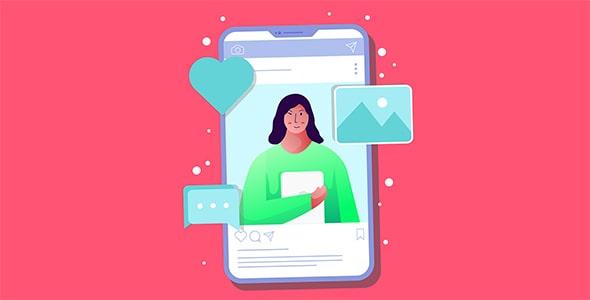 وکتور تصویرسازی موبایل و مفهوم شبکه اجتماعی