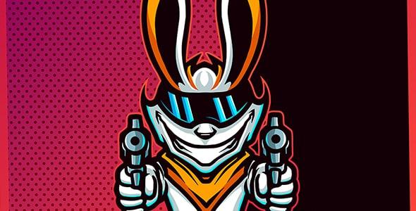 وکتور لوگو بازی و کاراکتر خرگوش