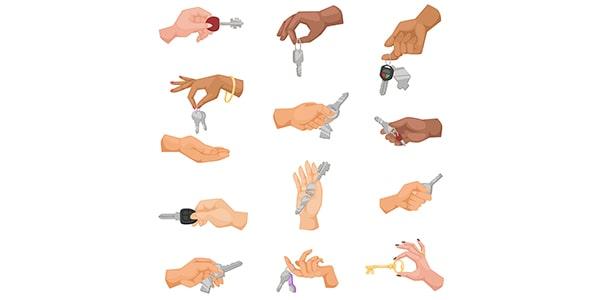 وکتور مجموعه کاراکتر دست انسان با کلید
