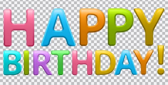 تصویر PNG طرح happy birthday رنگی