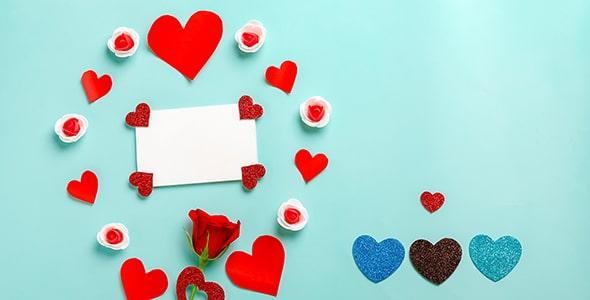 تصویر مجموعه قلب و گل رز روز ولنتاین
