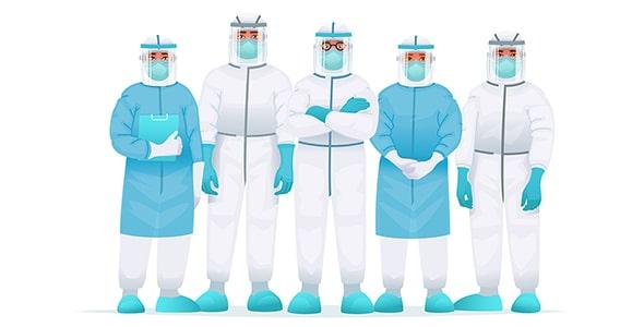 وکتور کاراکتر تیم پزشکی با شیلد و ماسک