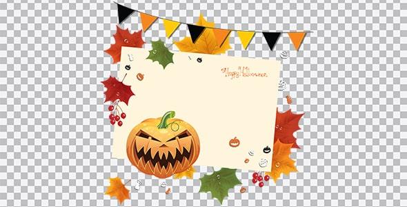 تصویر PNG کدو هالووین و برگ