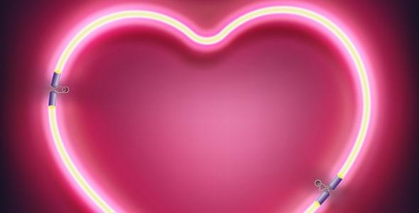 وکتور قلب ولنتاین طرح نور نئون