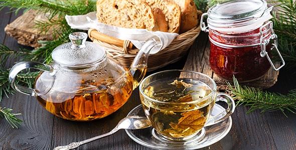 تصویر قوری چای تازه و دمنوش گیاهی