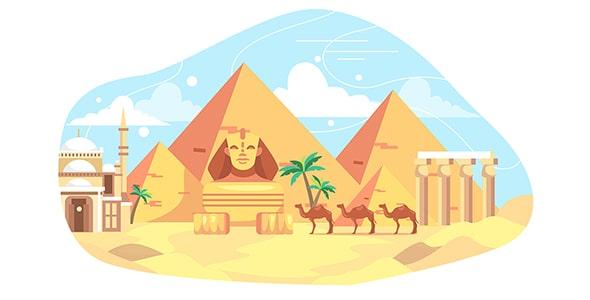 وکتور تصویر سازی سفر به اهرام مصر
