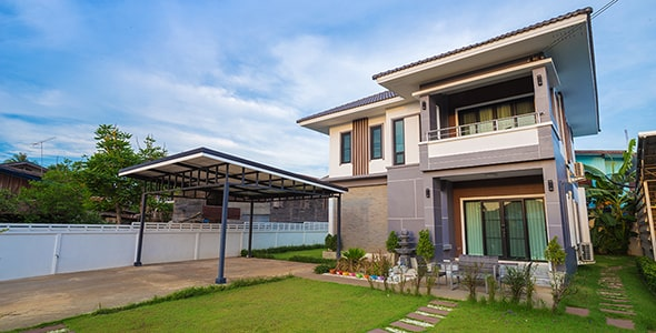 تصویر پس زمینه نمای بیرونی خانه مدرن