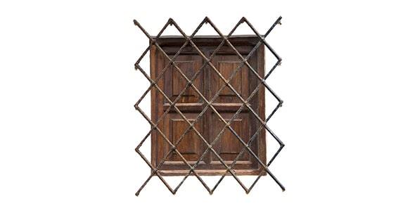 تصویر پنجره چوبی قدیمی با نرده