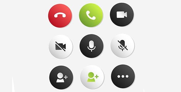 فایل لایه باز مجموعه دکمه تماس موبایل
