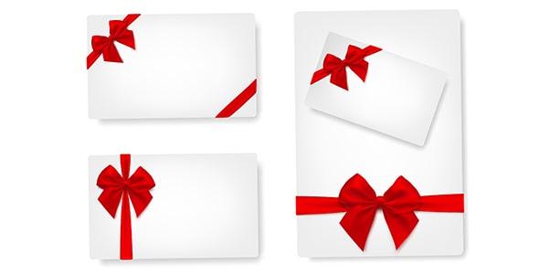 وکتور مجموعه کارت هدیه با روبان قرمز