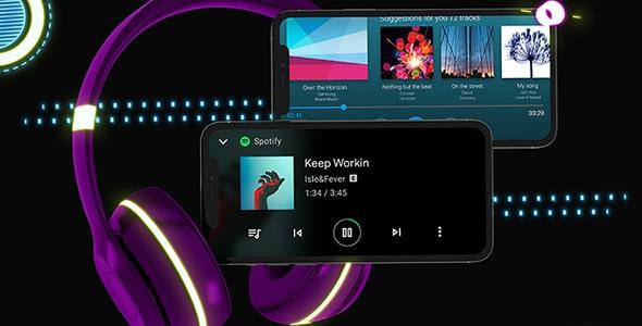 فایل لایه باز موکاپ موبایل با مفهوم موسیقی