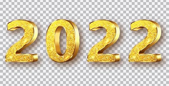 تصویر PNG طرح طلایی عدد سال 2022
