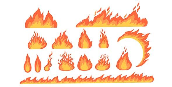 وکتور تصویر سازی مجموعه شعله آتش
