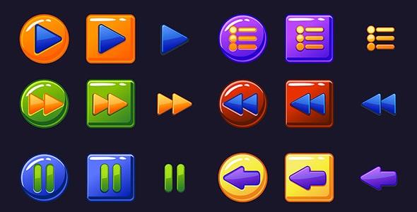 وکتور طراحی UI مجموعه دکمه ساخت بازی