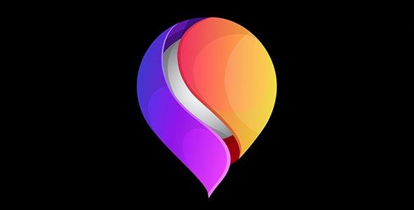 وکتور قالب آماده لوگو قطره رنگی